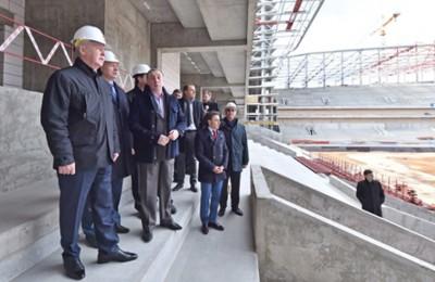 Мэр Москвы Сергей Собянин осмотрел строительство стадиона ЦСКА