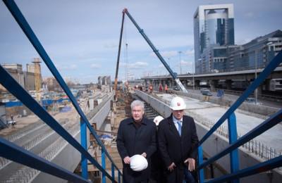 Мэр Москвы Сергей Собянин проинспектировал строительство транспортно-пересадочного узла в районе «Москва-сити»