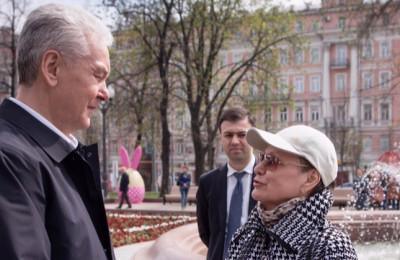 Мэр Москвы Сергей Собянин на торжественном открытии фонтанов в столице