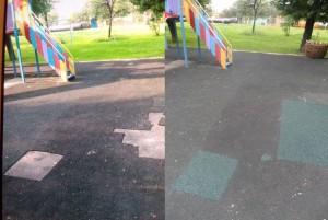 Покрытие на детской площадке до и после замены