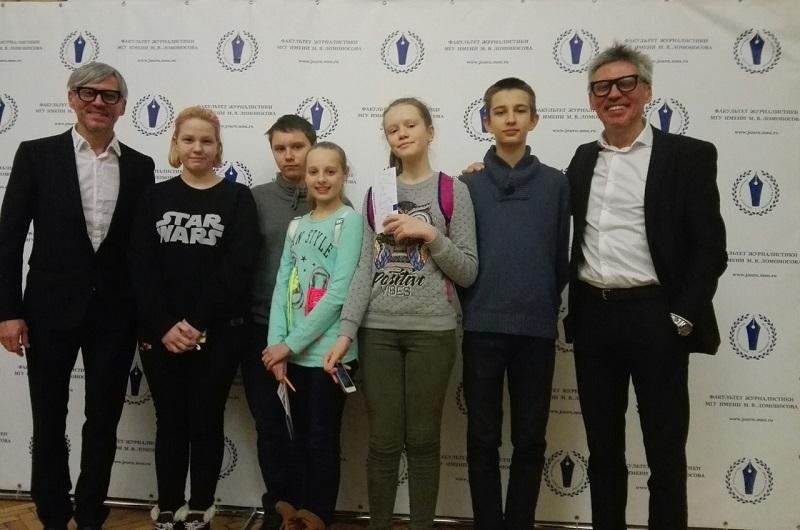 Юнкоры школы №880 встретились с Кириллом и Андреем Эйхфусами